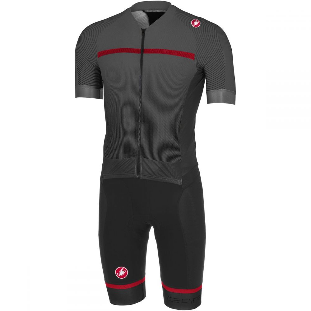 カステリ メンズ トライアスロン トップス【Free Sanremo Short Sleeve Suits】Black