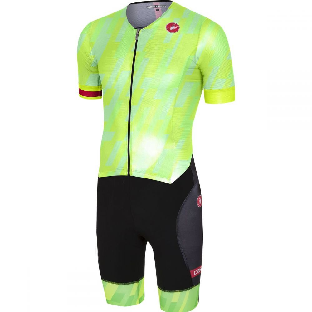 カステリ メンズ トライアスロン トップス【Free Sanremo Short Sleeve Suits】Pro Green/Black
