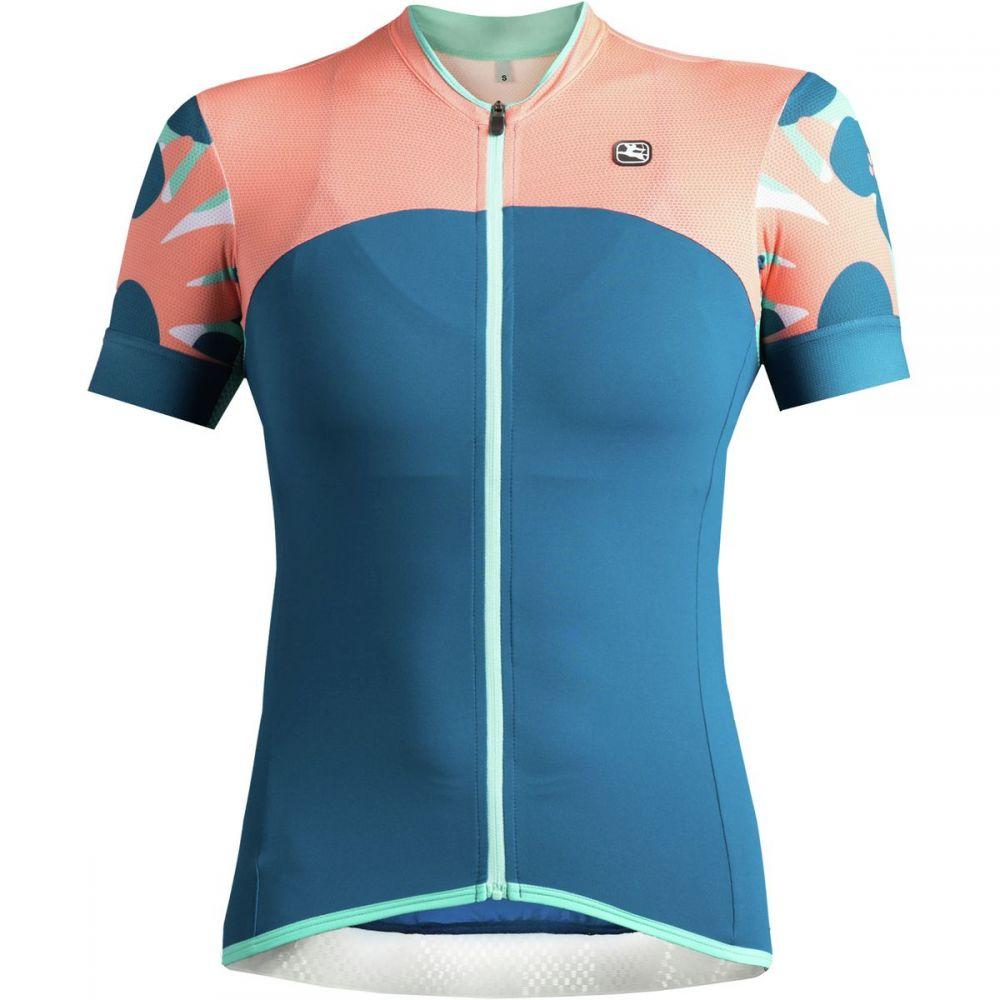 ジョルダーノ レディース 自転車 トップス【Lungo Short - Sleeve Jersey】Blue/Coral