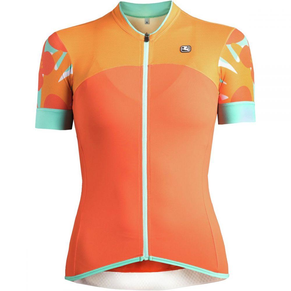 ジョルダーノ レディース 自転車 トップス【Lungo Short - Sleeve Jersey】Orange/Aqua
