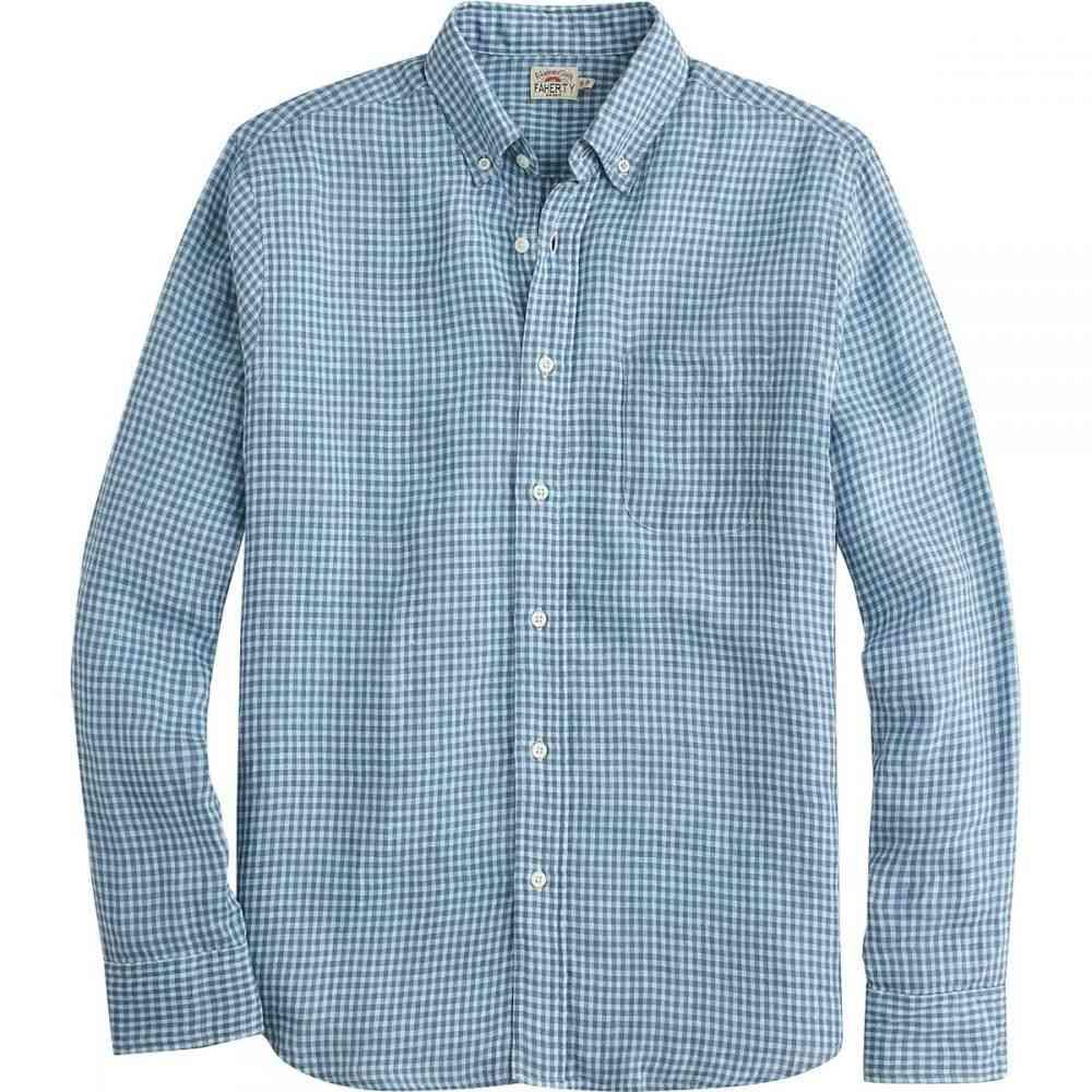 ファレティ メンズ トップス シャツ【Linen Ventura Shirts】Teal Blue Check