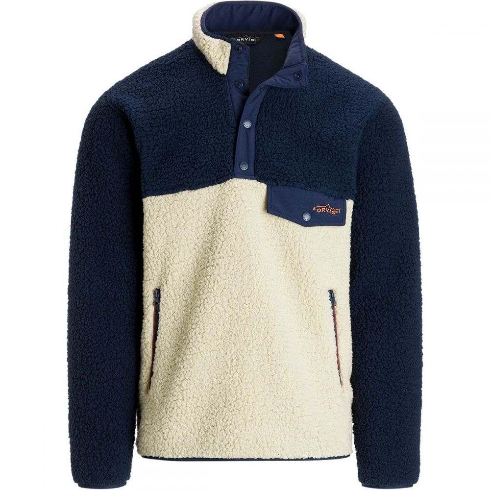 オービス Orvis メンズ トップス フリース【Sherpa Fleece Snap Front Jackets】Natural/Navy