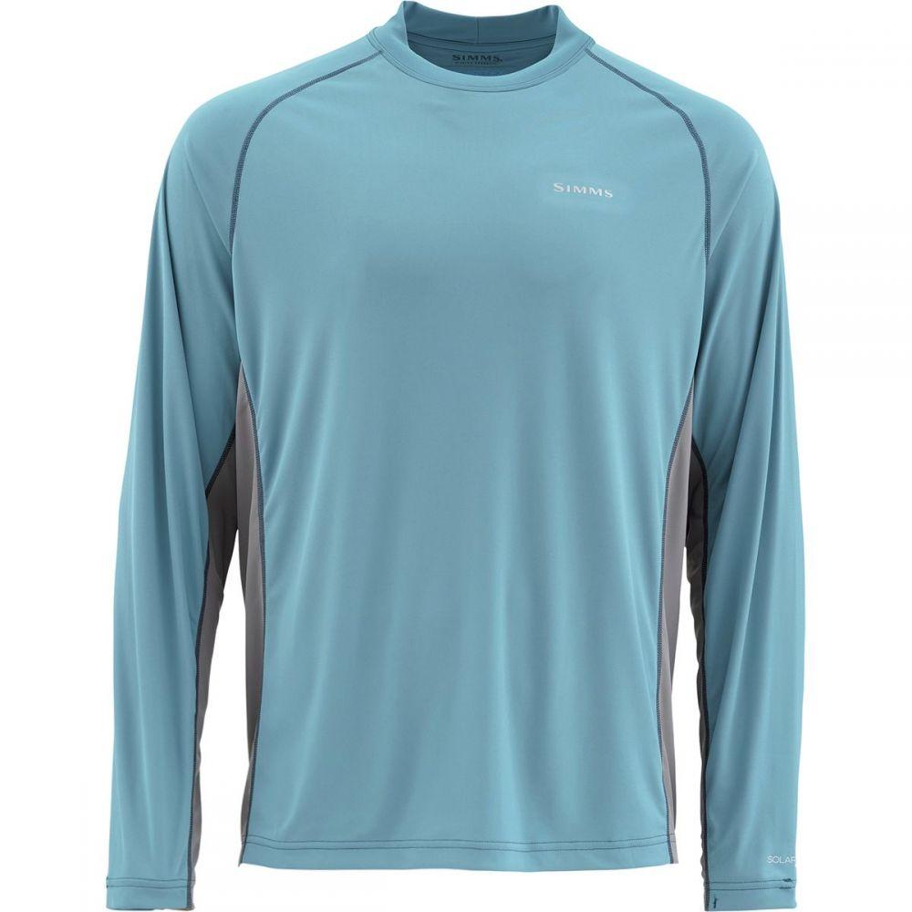 シムズ Simms メンズ 釣り・フィッシング トップス【SolarFlex Solid Long - Sleeve Crew Shirts】Blue Stream
