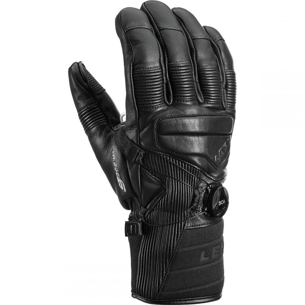 レキ LEKI メンズ 手袋・グローブ【Progressive Tune Leather Boa MF Touch Gloves】Black