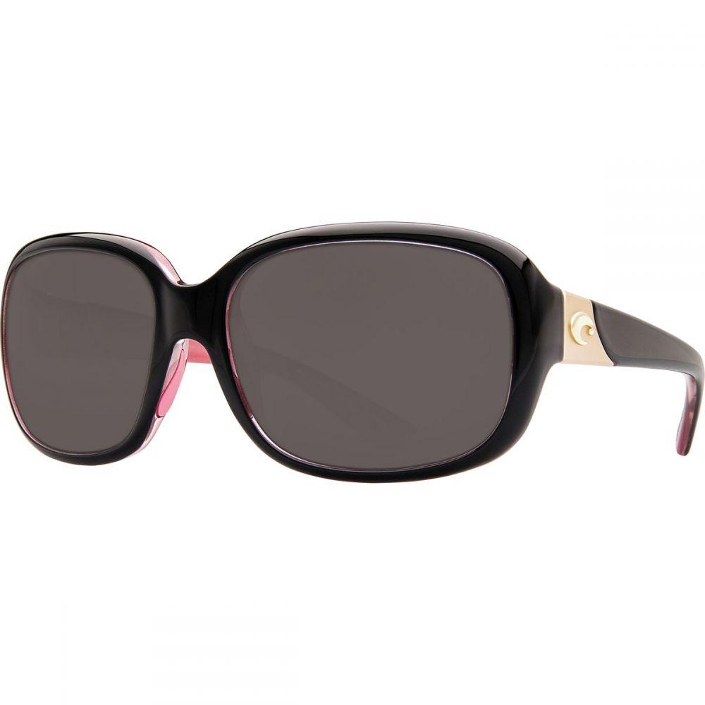 コスタ Costa レディース スポーツサングラス【Gannet 580G Polarized Sunglasses】Shiny Black Hibiscus Gray g