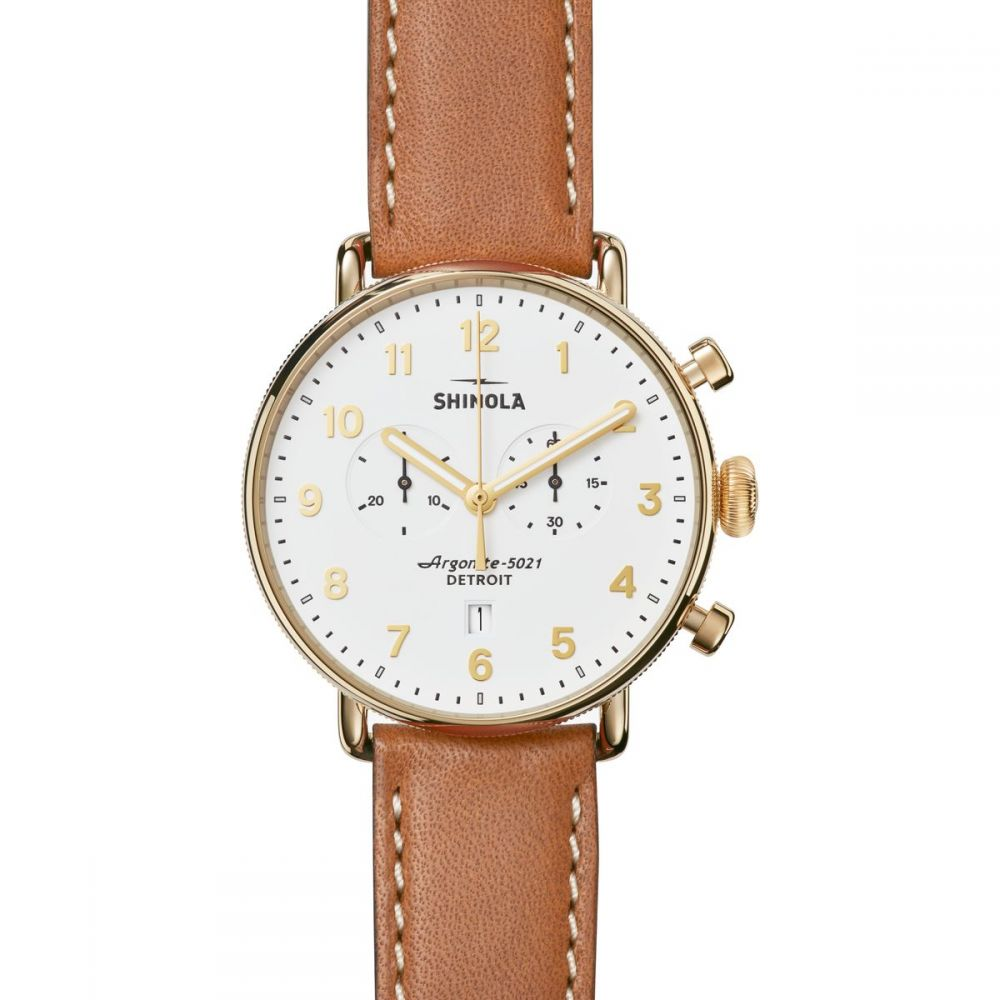 シャイノーラ Shinola レディース 腕時計【Canfield Chrono 43mm Watch】White/Brown
