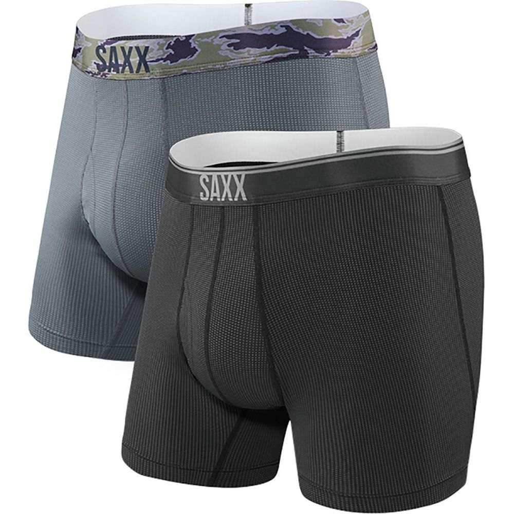 サックス Saxx メンズ インナー・下着 ボクサーパンツ【Quest 2.0 Boxer - 2 - Packs】Black/Dark Charcoal