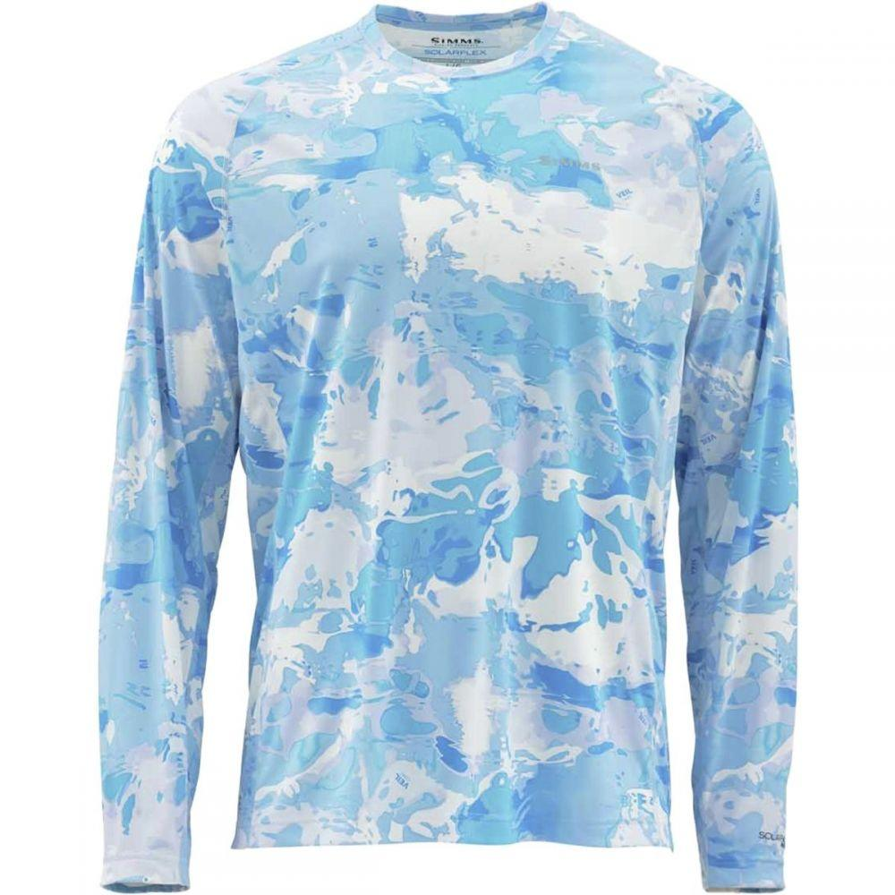 シムズ Simms メンズ 釣り・フィッシング トップス【SolarFlex Long - Sleeve Crewneck Print Shirts】Cloud Camo Blue