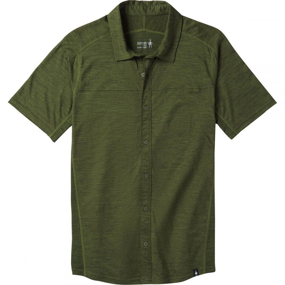 スマートウール Smartwool メンズ トップス 半袖シャツ【Merino Sport 150 Short - Sleeve Button - Down Shirts】Moss Green Heather