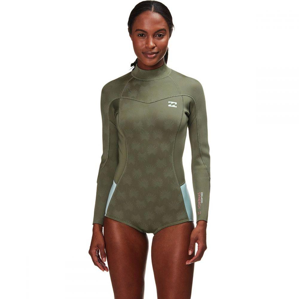 ビラボン Billabong レディース 水着・ビーチウェア ウェットスーツ【2mm Synergy Back Zip Flatlock Spring Suit】Safari Green