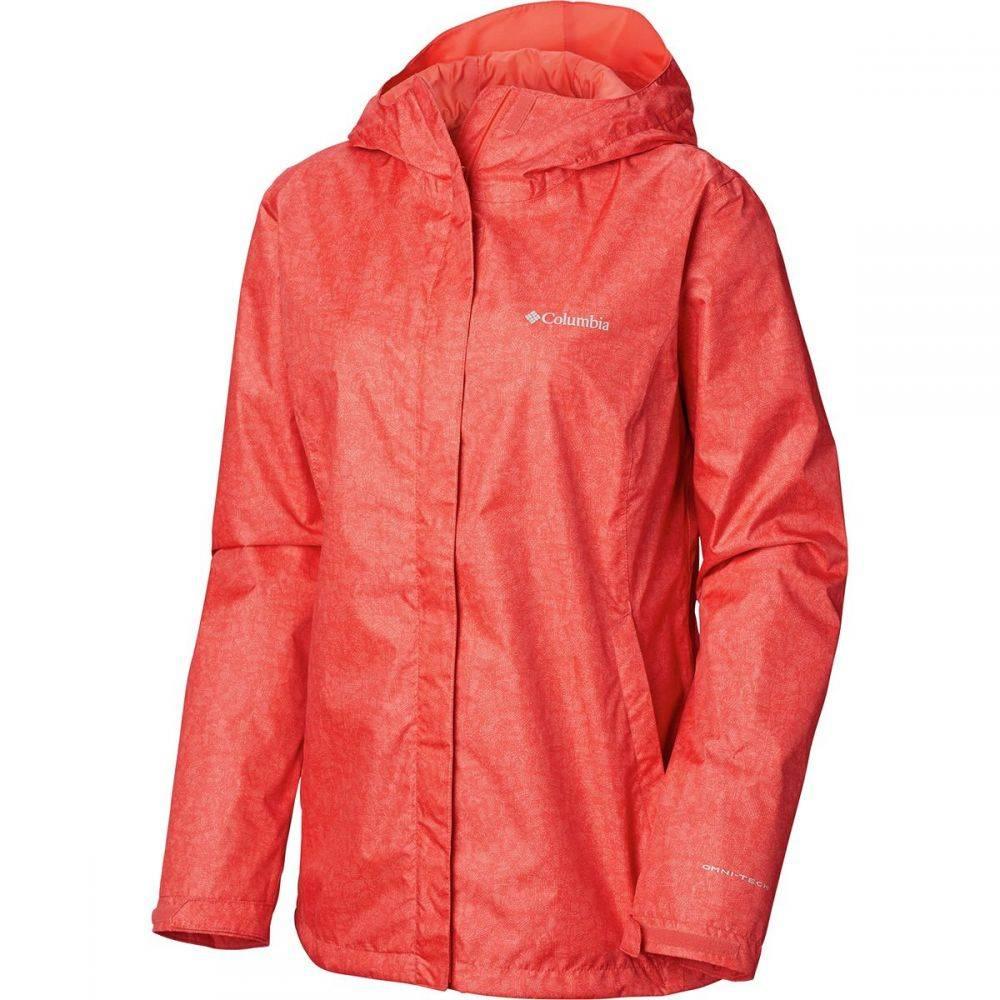 コロンビア Columbia レディース アウター レインコート【Arcadia Print Jacket】Red Coral Scratch Texture Print
