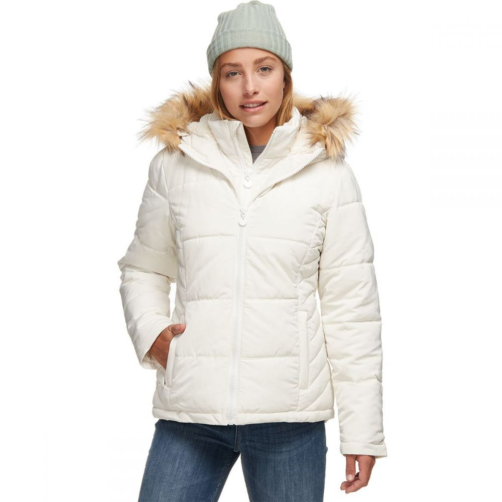 ストイック Stoic レディース ダウン・中綿ジャケット アウター【sherpa lined hooded puffer jacket with bib】White