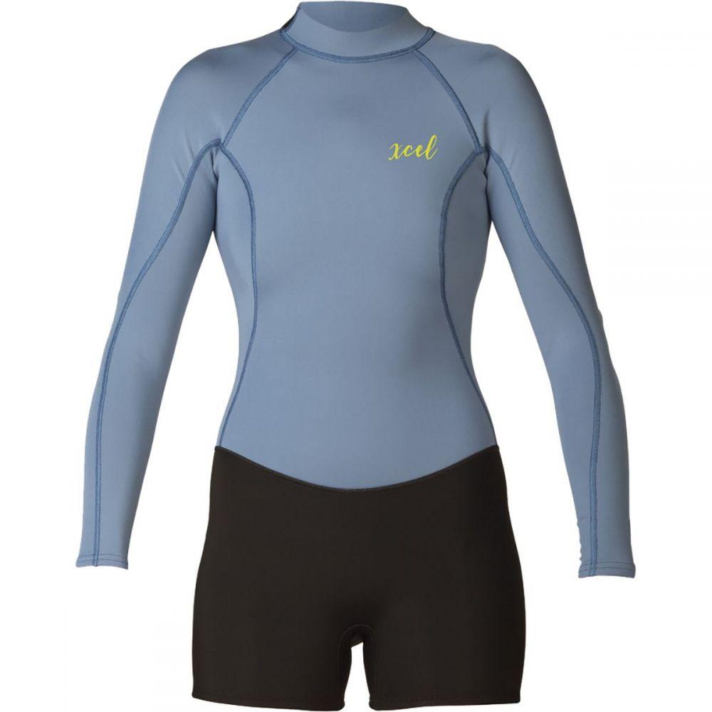 エクセル XCEL レディース ウェットスーツ 水着・ビーチウェア【axis shorty 2mm long - sleeve springsuit】Black/Faint Blue