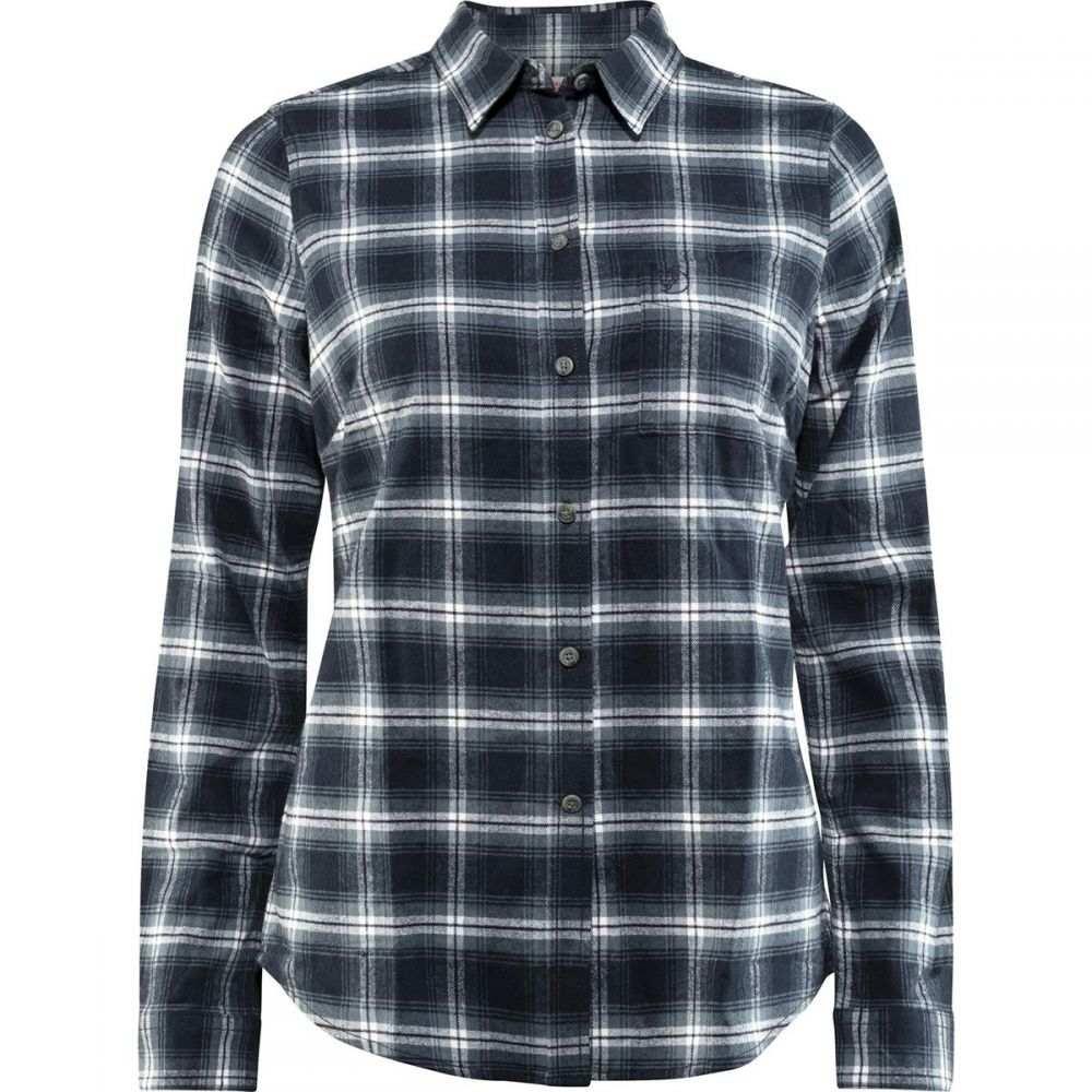 フェールラーベン Fjallraven レディース ブラウス・シャツ フランネルシャツ トップス【ovik flannel long - sleeve shirt】Dark Navy