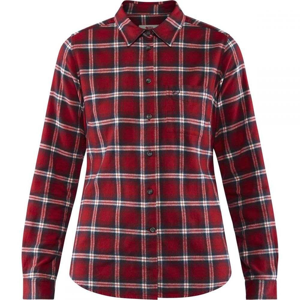 フェールラーベン Fjallraven レディース ブラウス・シャツ フランネルシャツ トップス【ovik flannel long - sleeve shirt】Deep Red