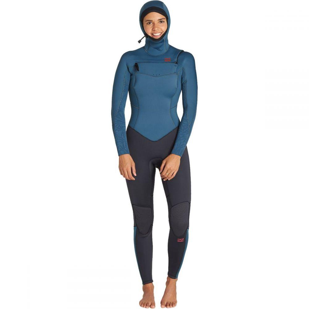 ビラボン Billabong レディース ウェットスーツ フルスーツ 水着・ビーチウェア【5/4 furnace synergy chest - zip hooded full wetsuit】Black Marine