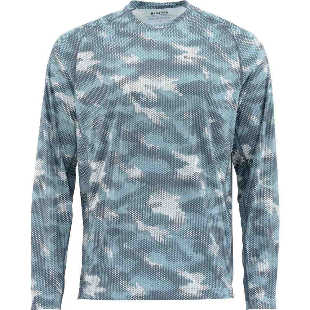シムズ Simms メンズ 釣り・フィッシング トップス【SolarFlex Long - Sleeve Crewneck Print Shirt】Hex Camo Storm