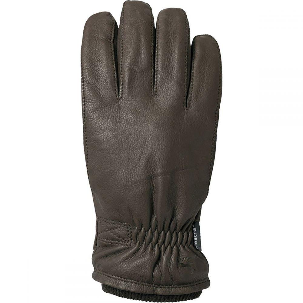 ヘスタ Hestra メンズ 手袋・グローブ 【Deerskin Swisswool Rib Cuff Glove】Dark Brown