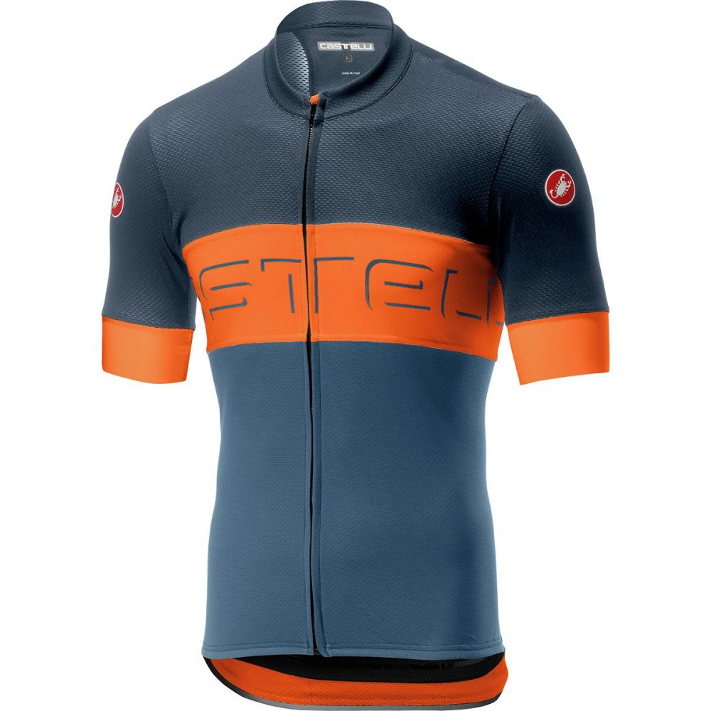 カステリ Castelli メンズ 自転車 トップス【Prologo VI Jersey】Dark Steel Blue/Orange/Light Steel Blue