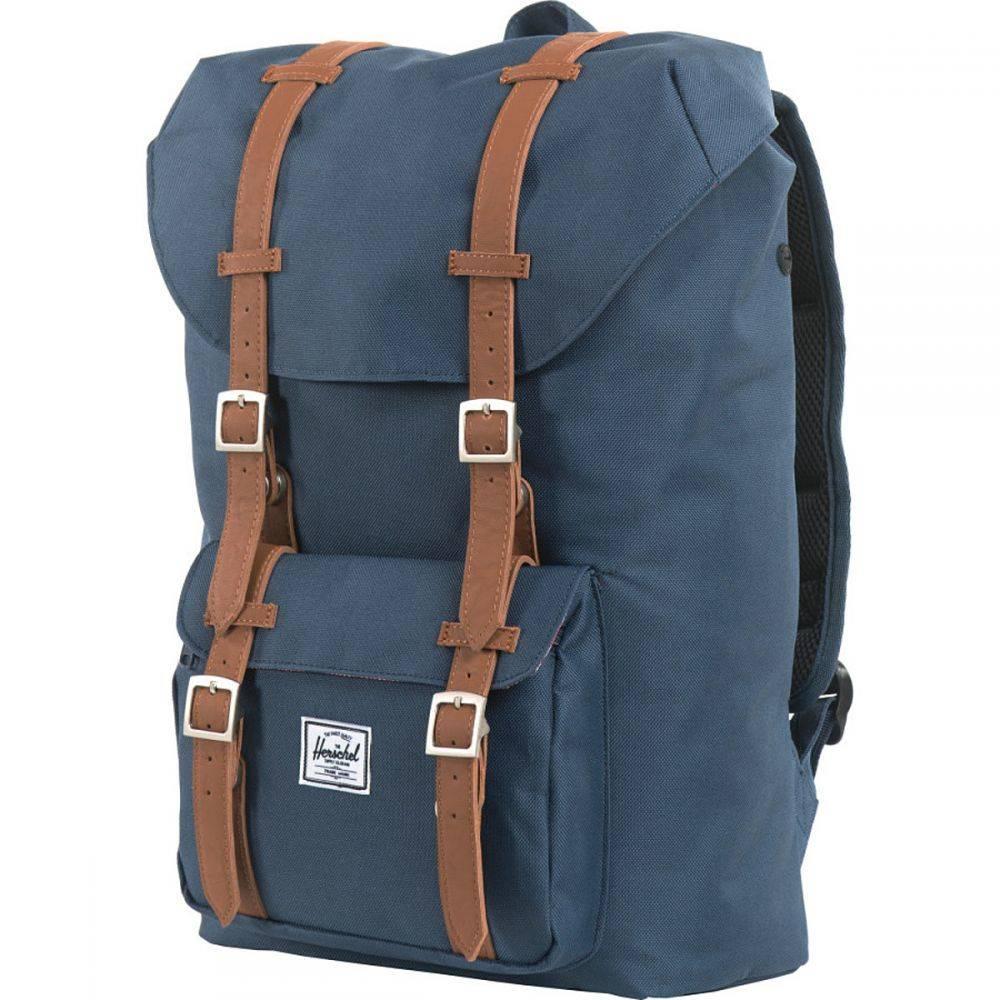 ハーシェル サプライ Herschel Supply レディース バックパック・リュック バッグ【Little America Mid - Volume 17L Backpack】Navy/Tan Synthetic Leather