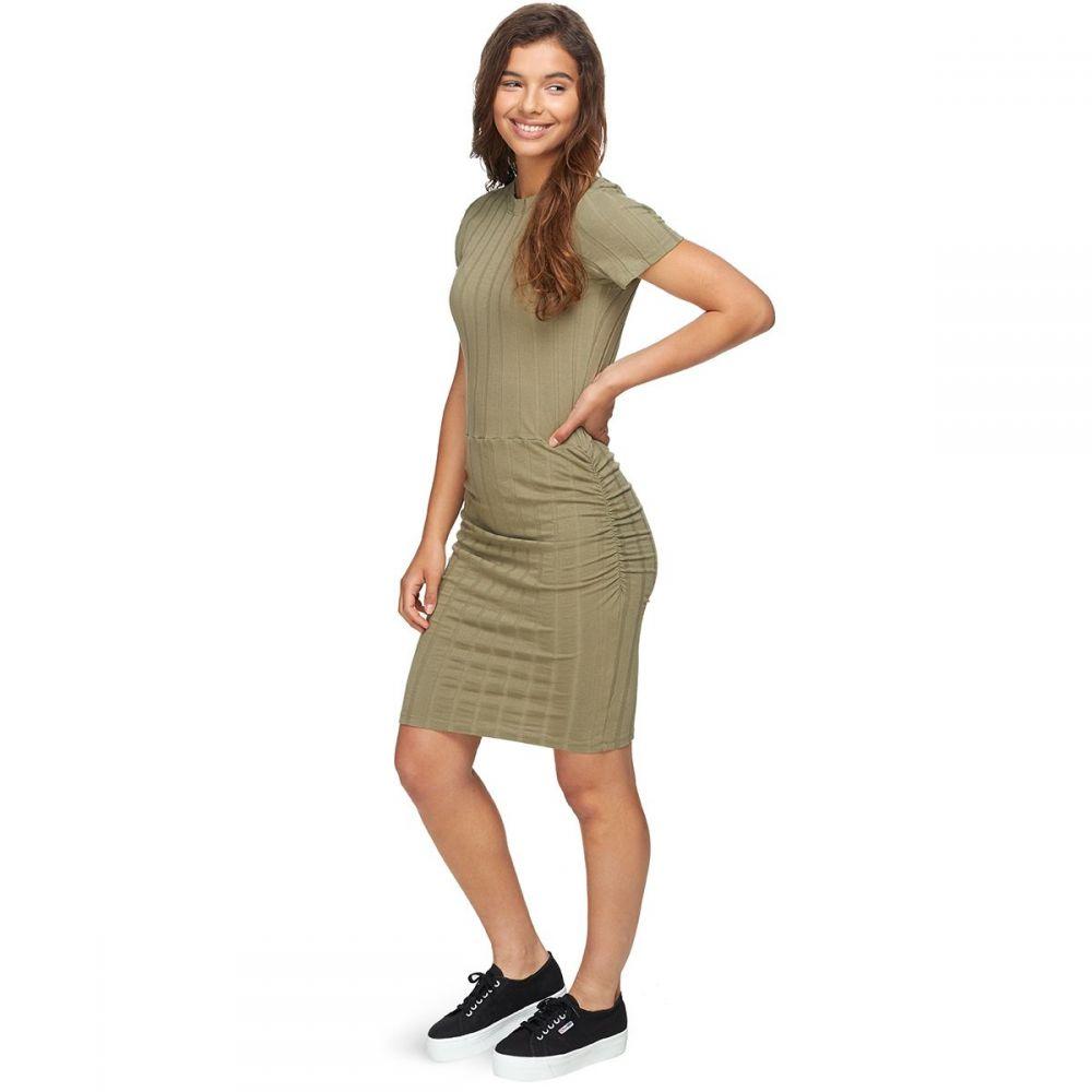 モンロー Monrow レディース ワンピース ワンピース・ドレス【Rib Crew Neck Shirred Dress】Army