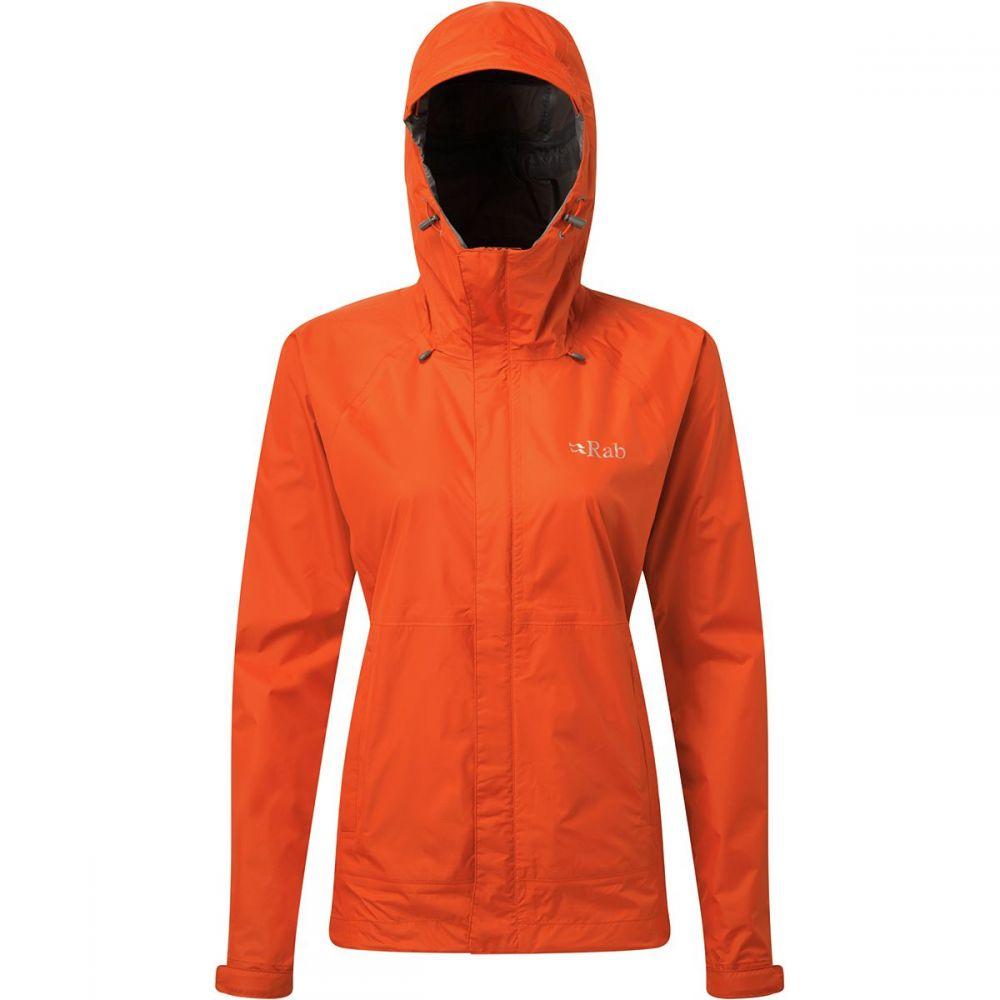 ラブ Rab レディース レインコート フード アウター【Downpour Hooded Jacket】Firecracker