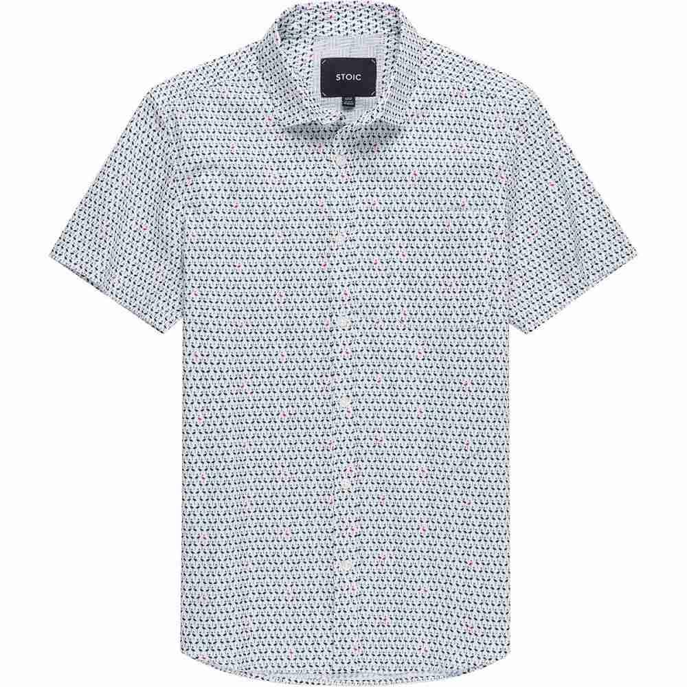 ストイック Stoic メンズ 半袖シャツ トップス【Ditsy Flamingo Print Short - Sleeve Button - Down Shirt】White