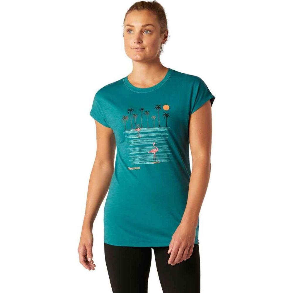 スマートウール Smartwool レディース Tシャツ トップス【Merino Sport 150 Surfing Flamingos T - Shirt】Dark Peacock