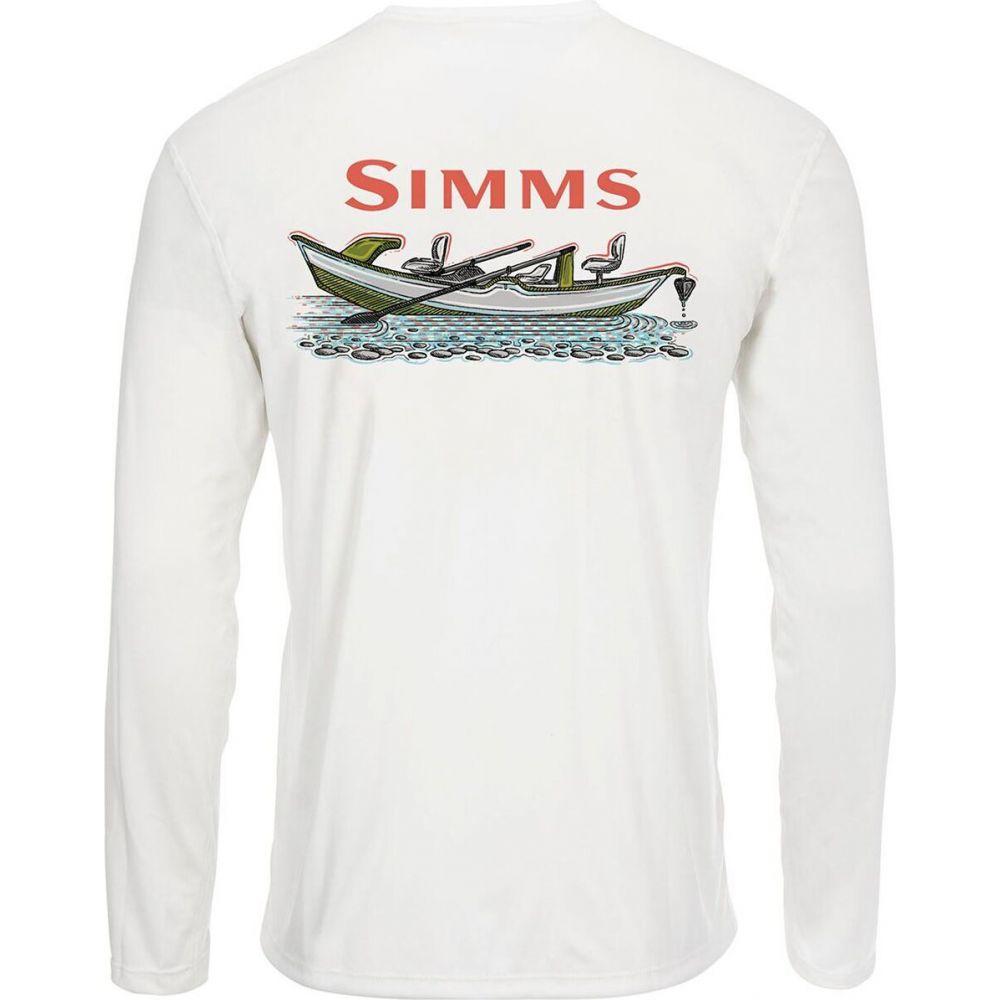 シムス メンズ 釣り フィッシング トップス Simms Drift White - Shirt Solar T 新作通販 Sleeve 超激安特価 Tech Long サイズ交換無料