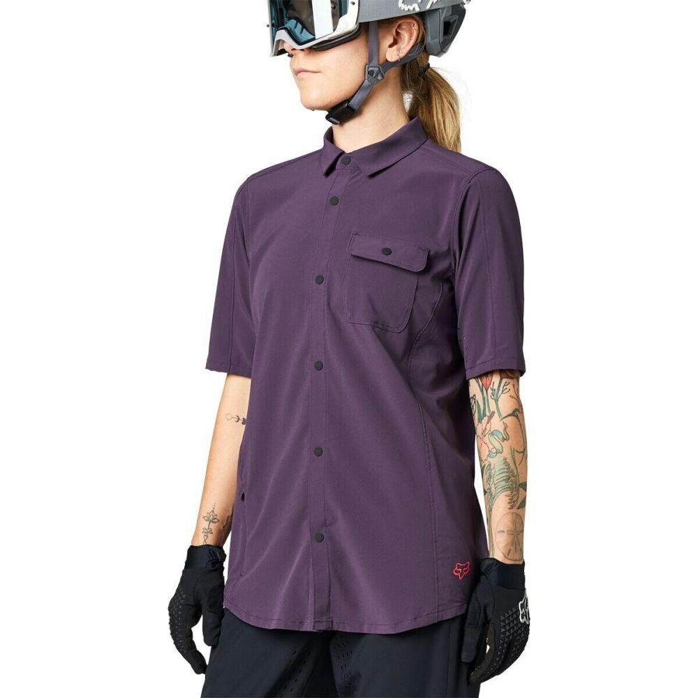フォックス レーシング レディース ブランド品 自転車 トップス Dark Purple サイズ交換無料 Sleeve Short Fox - 上品 Racing Woven Jersey Flexair