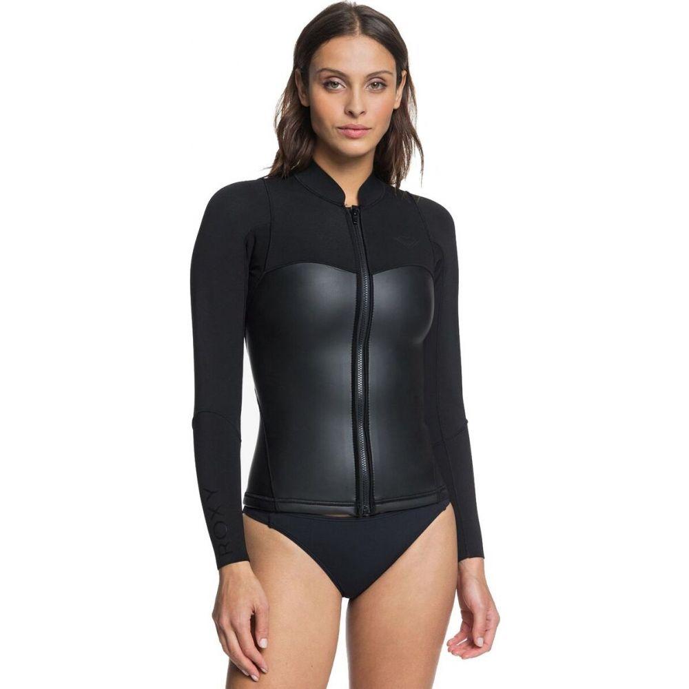 ロキシー レディース 水着 ビーチウェア ウェットスーツ Black サイズ交換無料 Roxy Satin ジャケット 40%OFFの激安セール Jacket Wetsuit Long-Sleeve Front-Zip 高い素材 1.0mm