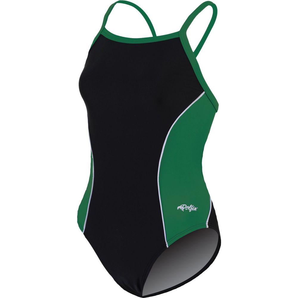 ドルフィン Dolfin レディース ワンピース 水着・ビーチウェア【team panel v-2 back swimsuit】Black/Green/White