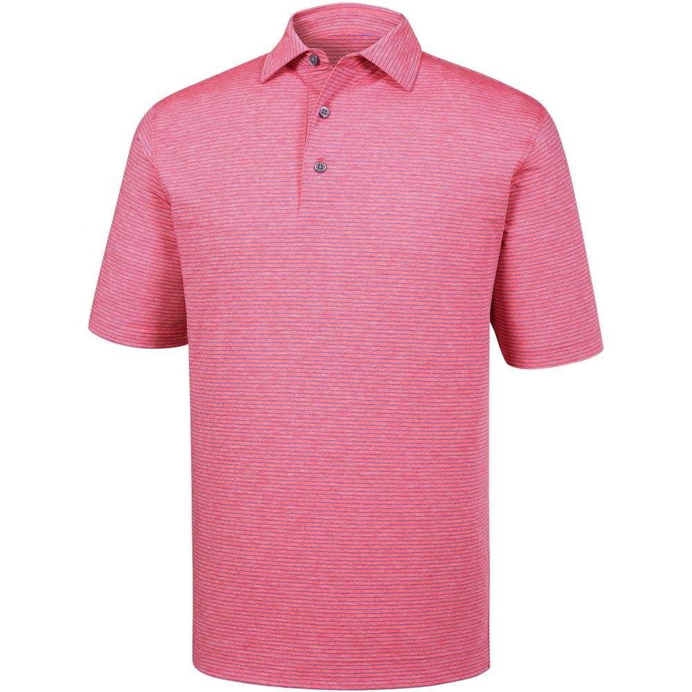 フットジョイ FootJoy メンズ ゴルフ トップス【Heather Pinstripe Lisle Golf Polo】Pink Azalea/Sapphire Blue