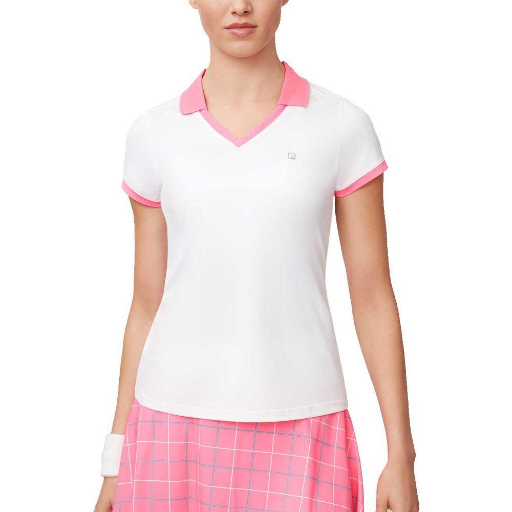 フィラ Fila レディース テニス トップス【Windowpane V-Neck Tennis Shirt】White/Miami Pink/Atlantis