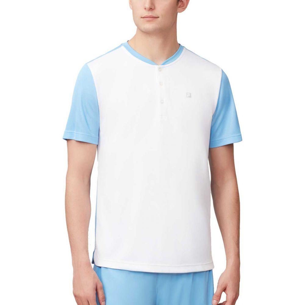 フィラ Point Fila メンズ テニス トップス【Set Point Henley Henley Tennis トップス【Set Shirt】White/Light Blue, ウメムラ Wine Cellar:a3c29d58 --- officewill.xsrv.jp
