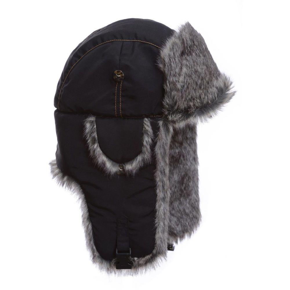 マッドボンバー Mad Bomber メンズ 帽子 【black supplex faux fur bomber hat】Black