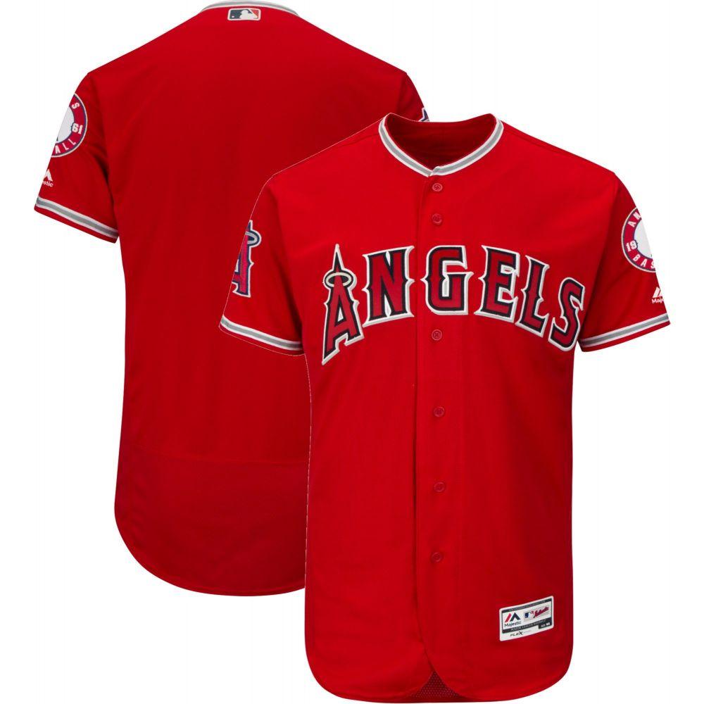 マジェスティック Majestic メンズ トップス【Authentic Los Angeles Angels Alternate Red Flex Base On-Field Jersey】