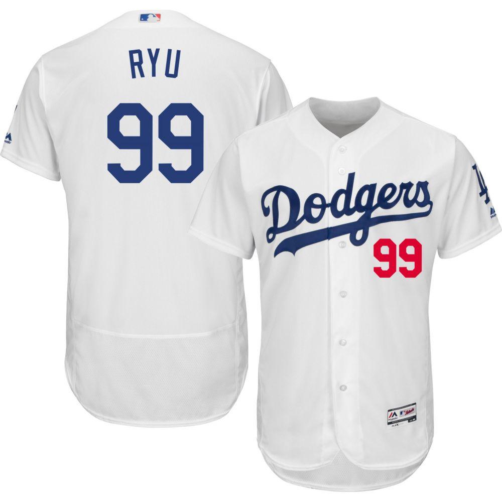 マジェスティック Majestic メンズ トップス【Authentic Los Angeles Dodgers Hyun-jin Ryu #99 Home White Flex Base On-Field Jersey】