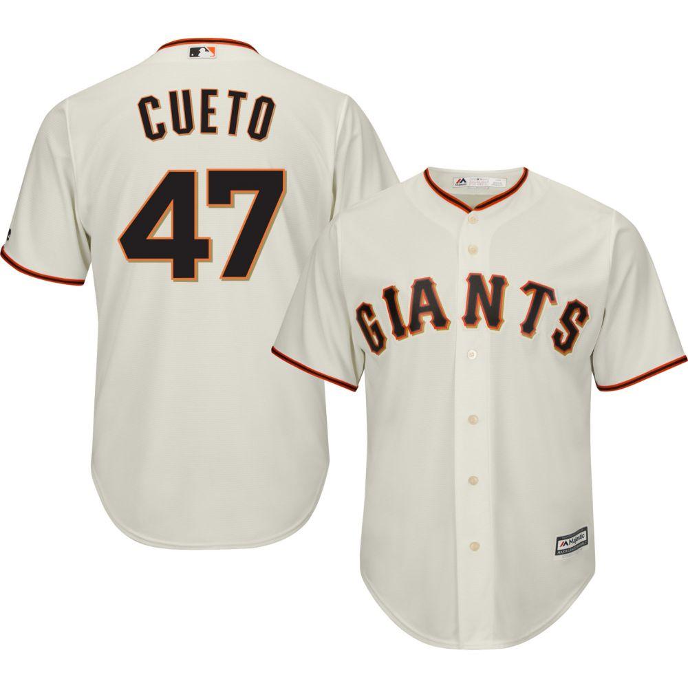マジェスティック Majestic メンズ トップス【Replica San Francisco Giants Johnny Cueto #47 Cool Base Home Ivory Jersey】