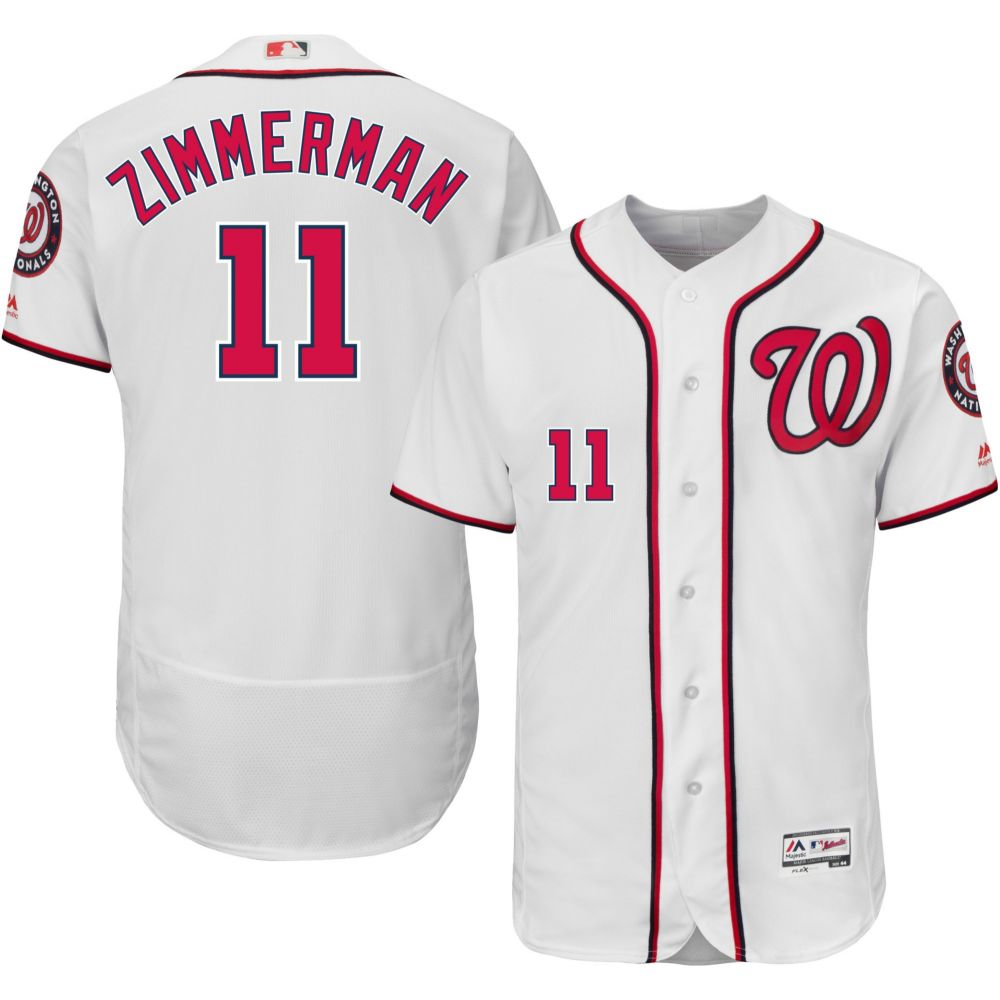 マジェスティック Majestic メンズ トップス【Authentic Washington Nationals Ryan Zimmerman #11 Home White Flex Base On-Field Jersey】