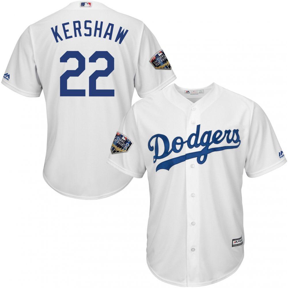 マジェスティック Majestic メンズ トップス【2018 World Series Replica Los Angeles Dodgers Clayton Kershaw Cool Base Home White Jersey】