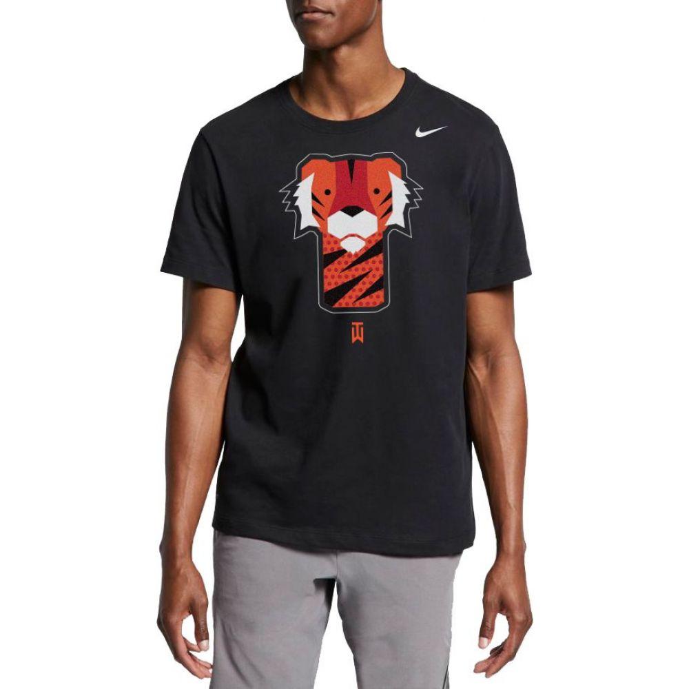 堅実な究極の ナイキ トップス【Tiger Nike T-Shirt】Black メンズ ゴルフ トップス【Tiger Golf Woods