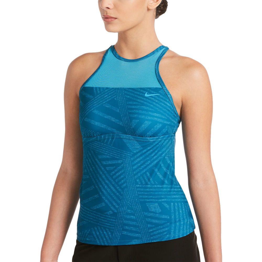 ナイキ Nike レディース トップのみ タンキニ 水着・ビーチウェア【6:1 dazzle high neck tankini top】Lt Blue Fury