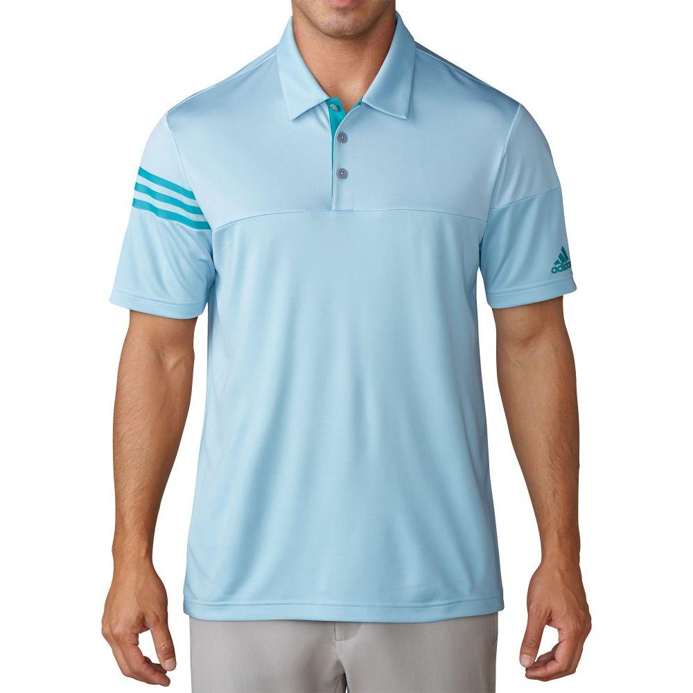 アディダス adidas メンズ ゴルフ トップス【3-Stripes Heather Block Golf Polo】Icey Blue