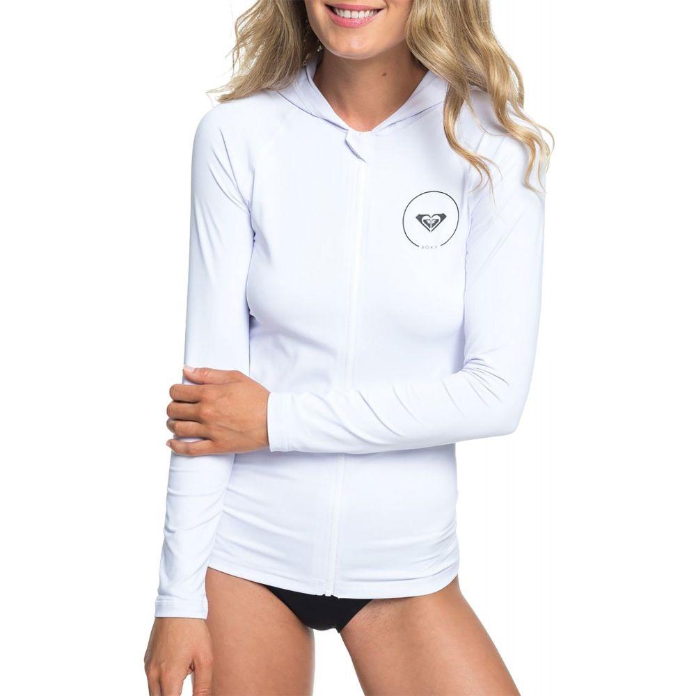 ロキシー Roxy レディース ラッシュガード 水着・ビーチウェア【essential zipped hooded long sleeve rash guard】Bright White