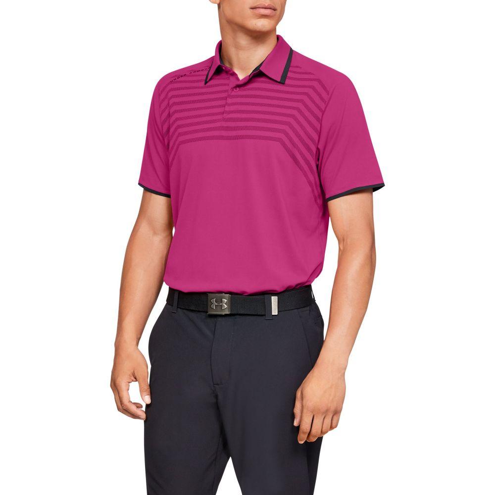 アンダーアーマー Under Armour メンズ ゴルフ トップス【Threadborne Cross Hatch Golf Polo】Tropic Pink/Black