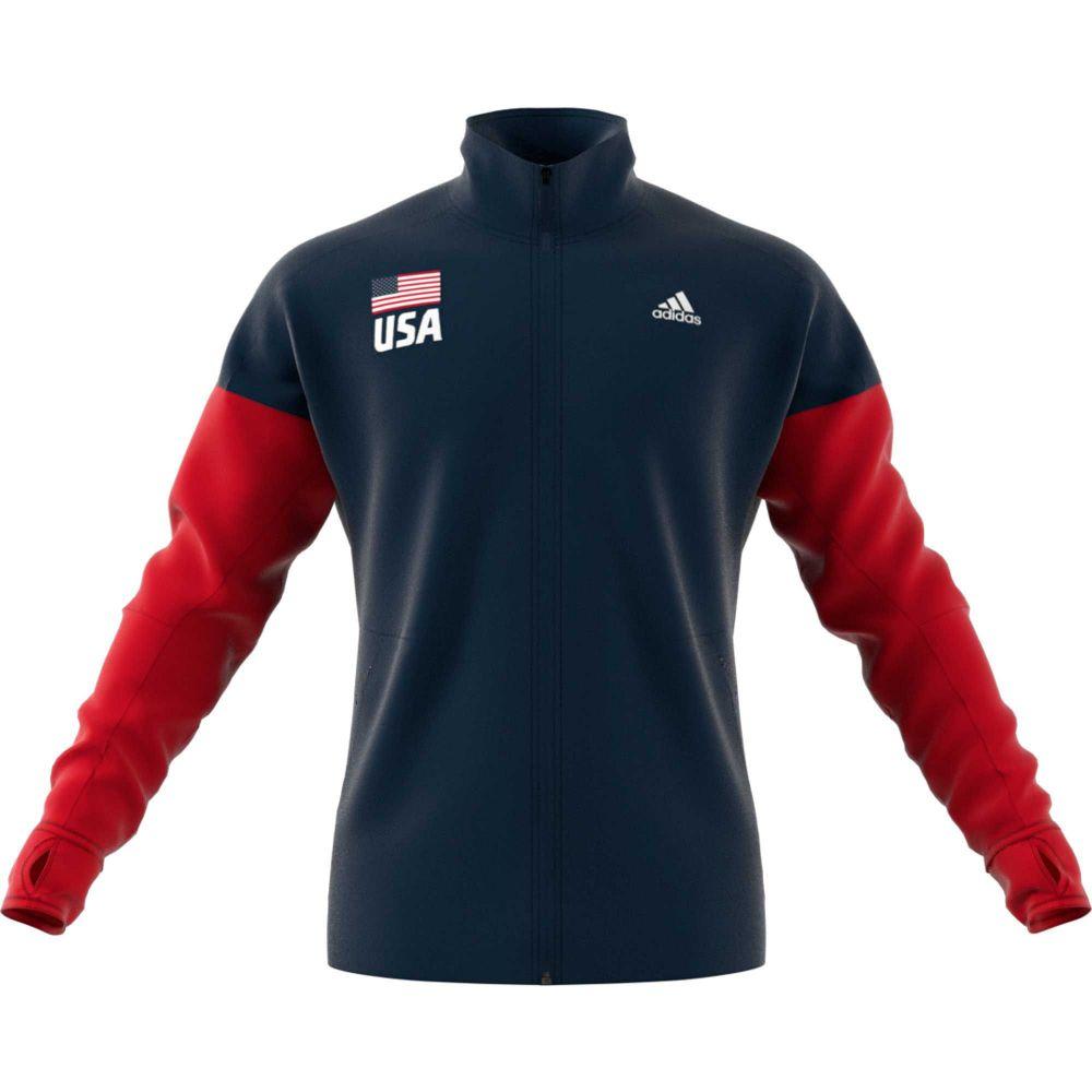 アディダス adidas メンズ バレーボール ジャケット アウター【usa volleyball full-zip warmup jacket】Coll Nv/Power Rd/Wht