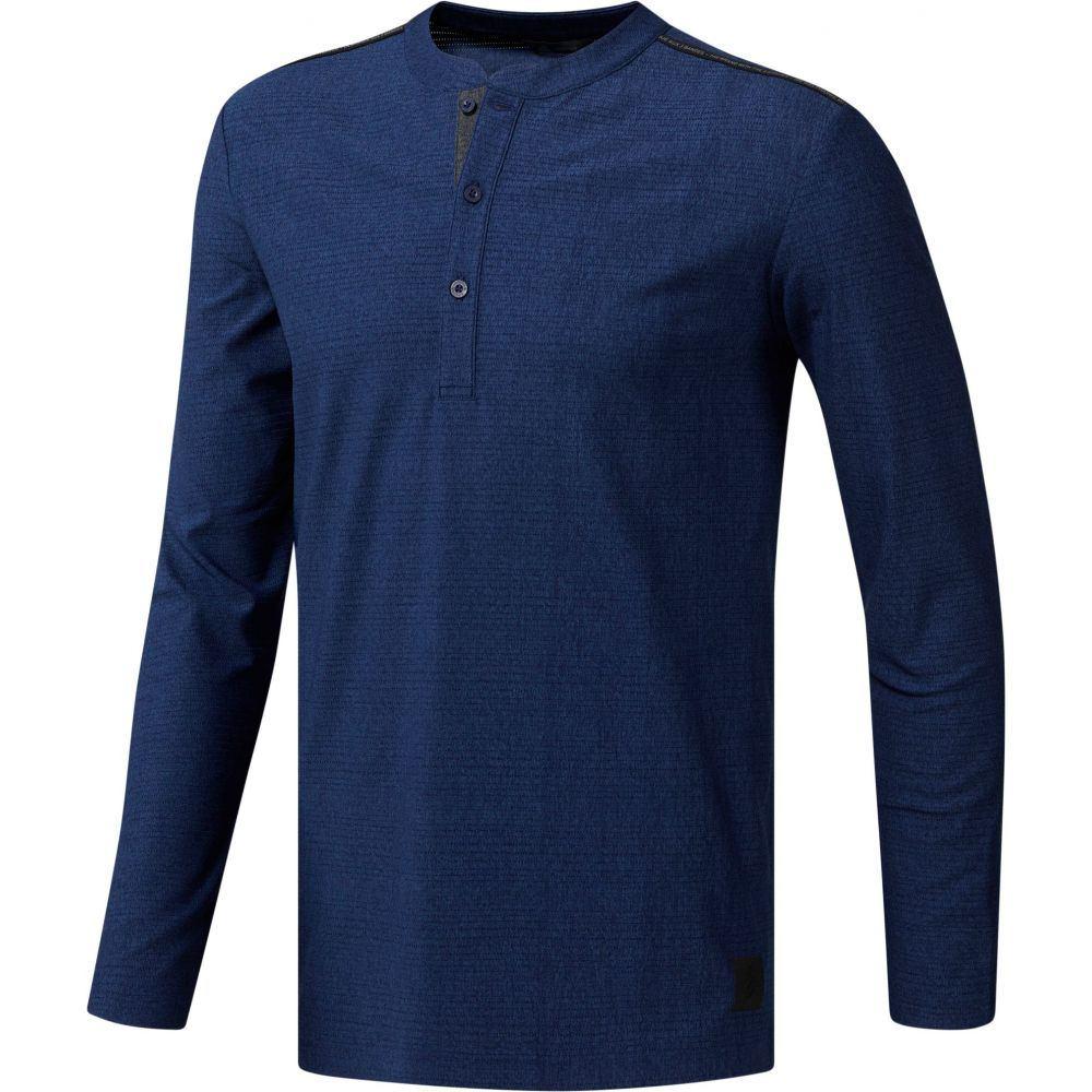 アディダス adidas メンズ ゴルフ トップス【Long Sleeve Transition Henley Golf Shirt】Dark Blue Heather