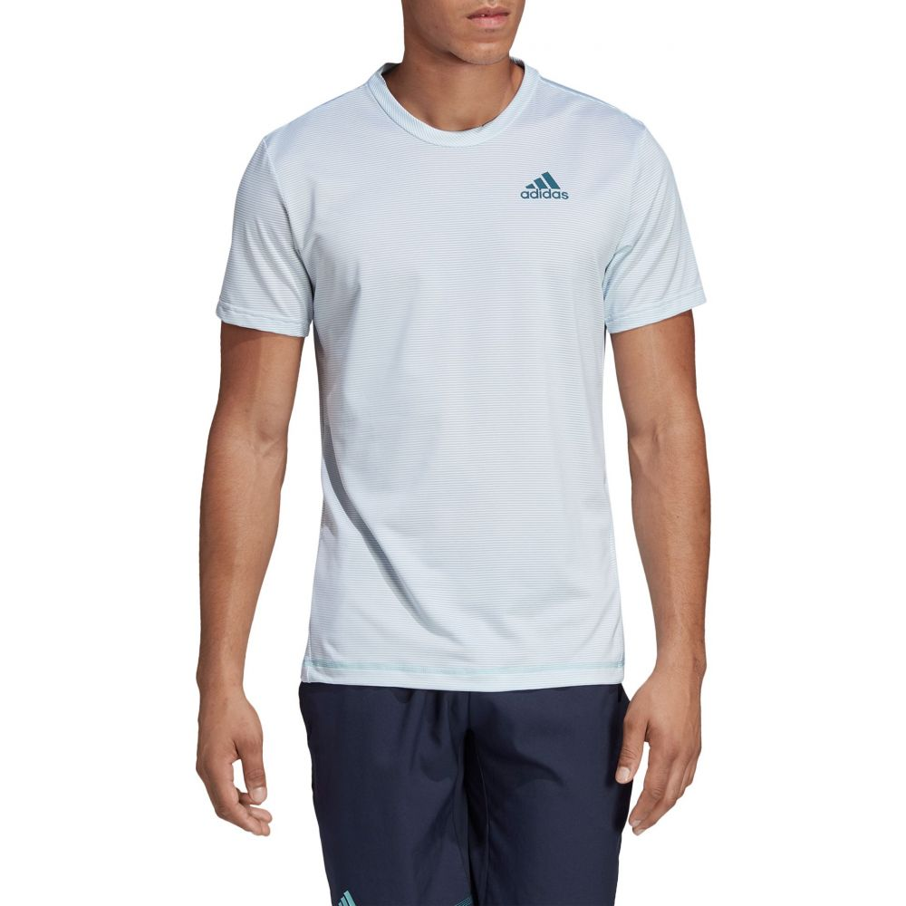 アディダス Tennis adidas メンズ adidas テニス Striped トップス【Parley Striped Tennis T-Shirt】White/Easy Blue, 野母崎町:8cd82273 --- officewill.xsrv.jp