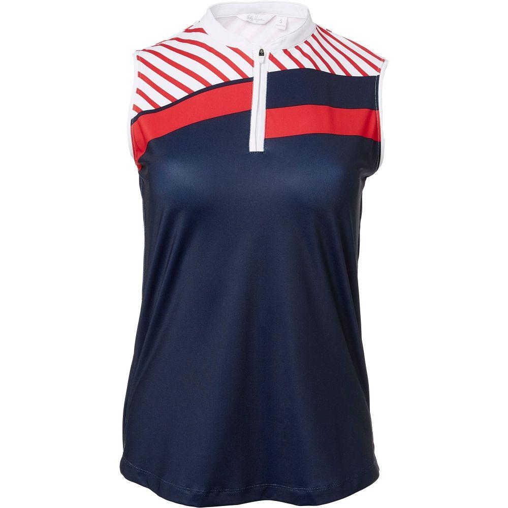 レディー ハーゲン Lady Hagen レディース ゴルフ ノースリーブ ポロシャツ トップス【Hagen USA Stripe Blocked Sleeveless Golf Polo】Dark Navy
